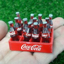 12Bottles 1 Set Miniature Dollhouse Coke Plastic Soft Drink Cases Collectibles