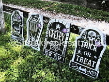 SET OF 4 LOT OF 4 HALLOWEEN TOMBSTONES Party Decor GRAVEYARD CEMETARY CLEARANCE