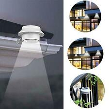 Hot Solar Powered 3LED Outdoor Light Lamp Fence Gutter Roof Yard Wall Garden DH