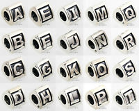 925 Sterling Silver Initial Capital Letter A to Z Bead Charm European Bracelet