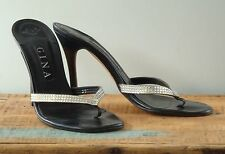 GINA Black Kid and Diamante womens high heel shoes UK size 6.5 with box