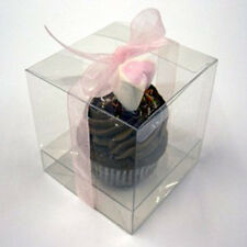 10 x Bomboniere favour clear PVC LARGE wedding gift cup cake product box 10cm sq