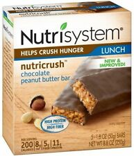 Nutrisystem Chocolate Peanut Butter Bars, 5 Count NEW, FREE SHIPPING, NO TAX