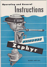 1940s #4429-4431 EVINRUDE ZEPHYR BOAT MOTOR MANUAL - NOS - NEW OLD STOCK