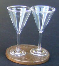 1:12 Scale 2 Clear Wine Glasses Dolls House Miniature Glass Accessory GLA22