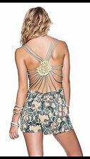 NWT Maaji Birdlime Canvas Crossed Crochet Romper Cover up L