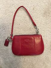 Coach Red  LEATHER Wristlet RED; ORIGINAL OWNER; NWOT; Coin Purse