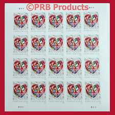 Quilled Paper Heart Sheet of 20 USPS Forever Postage Stamp Love Valentine 2016