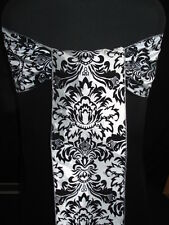 BLACK AND WHITE DAMASK WEDDING  CHAIR SASHES BOWS
