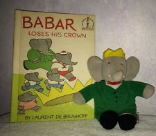 Vintage Babar Loses His Crown Book And Babar Elephant Vintage Plush