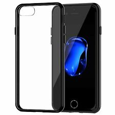For New iPhone 7 Case Cover Crystal Clear Case Gel TPU Soft Cover Skin Black