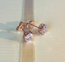 B18.Plum 7mm round white topaz 18ct rose gold filled stud earrings GIFTBOXD
