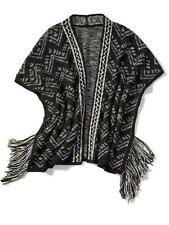Retail $79 PIPERLIME COLLECTION Open Fringe Knit Cardigan #549126_XS Black White