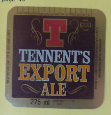 VINTAGE BRITISH BEER LABEL - TENNENTS BREWERY, EXPORT ALE 275 ML