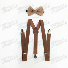 Brown Suspender and Bow Tie Set for Adults Men Women Teenagers (USA Seller)
