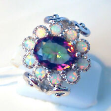 FABULOUS WHITE FIRE OPAL/MYSTIC TOPAZ OVAL  RING UK SIZE  R