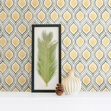 Retro design wallpaper in mustard yellow and greys on a white background