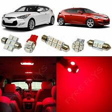 8x Red LED lights interior package kit for 2012-2016 Hyundai Veloster YV1R