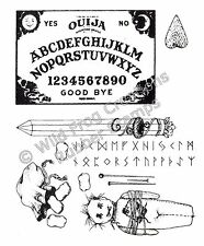 Rubber Stamp UM Set of 7 Ouija Board Rune Stones Crystal Wand VooDoo Doll RARE