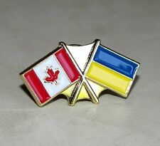 Friendship Gold Plated Canada Canadian / Ukraine Ukrainian Country Flags Pin