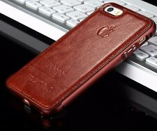 Leather Aluminum Metal Bumper Frame Case Cover Skin For iPhone 5 5S 6 6S 6PLUS