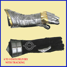 Gauntlet Gloves Armor Pair w/ Brass Accents ~ Medieval Knight Crusader