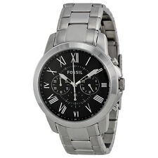 Fossil Grant Chronograph Black Dial Stainless Steel Mens Watch FS4736