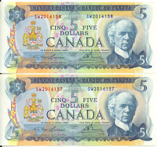 Bank of Canada 1972 $5 Five Dollars Consecutive Pair AU+ Bank of Nova Scotia Red