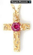 ruby Christian cross 14K gold pendant nugget blood red faith promise protection
