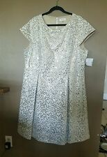 NWT=CALVIN KLEIN beige/white lace overlay/sequins, Elegant/Formal Dress size 22W