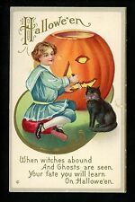 Halloween Postcard Stecher 226-D Child black cat embossed Carving JOL Vintage