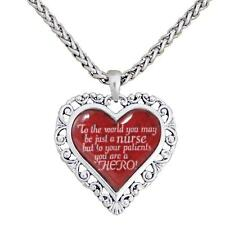 To the World Nurse Hero Red Silver Heart Chain Necklace Nursing RN LPN Gift