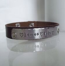 "Lovely Handmade Personalised ""Name, date, quote"" Leather Statement Cuff Bracelet"