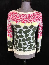 SI IAE 100% Cashmere Sweater Boat Neck Pink Yellow Green Polka Dot Animal Print