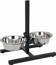 Stainless Steel Dog Bowls with Adjustable Stand 2 Dog Cat Pet Food Water Bowls