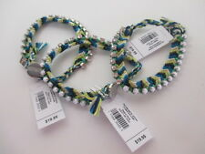 Gap Blue Green Braided Crystal White bead Toggle Bracelet NWT $19.95 Each set 3