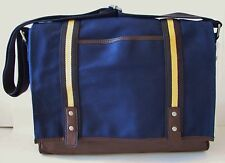 FOSSIL PARKER MESSENGER NAVY,YELLOW,BROWN CANVAS,LEATHER LAPTOP+CROSSBODY BAG