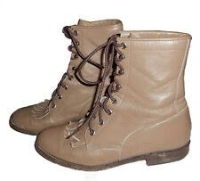 Justin VTG Tan Leather Western Roper Granny Boots L505 Womens 6.5B Run Big