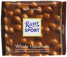 Ritter Sport Whole Hazelnut Chocolate Bar 100gm (Pack of 5) Post to Worldwide
