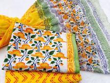 Cotton Bagru dress material for Salwar kameez in florals on white a