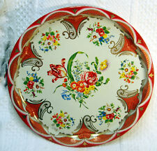Vintage Daher Decorative Tin Tray Platter Flowers England 11101 GUC