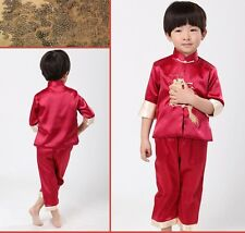 New Boys Red Blue Chinese Kungfu Dragon Jacket Pants Suit New Year Costume Set