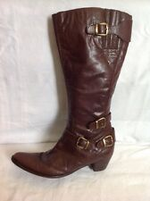 Buffalo London Maroon Knee High Leather Boots Size 41