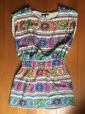 ROBERTO CAVALLI Silk white red pink blue green grey dress skirt 4 6 S $899 GORGE