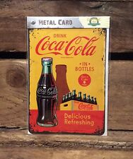 Coca Cola in bottles. METALl POSTCARD Vintage Retro Tin Signs Official Product