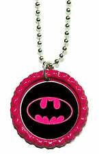 BRIGHT PINK BATGIRL BAT GIRL BOTTLE CAP NECKLACE (CAP067a)