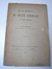Antoine Campaux : de la critique du texte d'Horace au XIXe siècle 1889