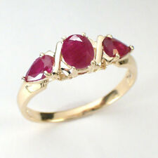 Solid 14k Yellow Gold Three Stone Ruby Ring 1.55ct. Sizes 4 to 9.5 #R390