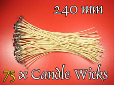 "75 x CANDLE Cotton WICKS, 240mm - 6,5"", PRE WAXED, Stoppini per Candele"