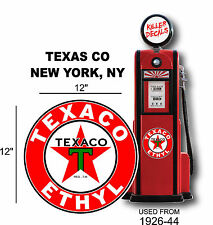 "12"" 1926-44 TEXACO ETHYL GASOLINE DECAL OIL CAN GAS PUMP LUBSTER"